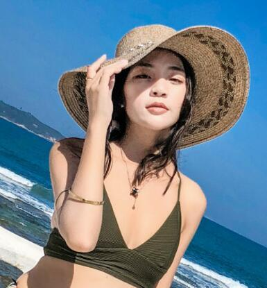Kadınlar El yapımı Plaj Yaz Sun için En kaliteli moda Kadın Geniş Brim Rafya Hasır Şapka Tığ Straw Cap Taşınabilir Güneş Hat Caps