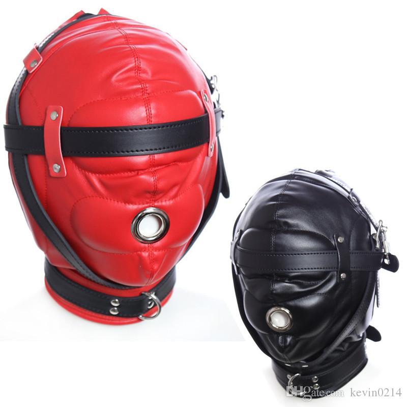 Sex Masks Fetish Bondage Belt BDSM Toys Full Hood SM Mask Headgear Harness Slave Restraint Belt Sex Toys for Couples J10-1-77