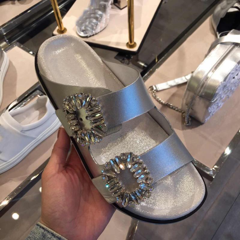 Chinelos Mulheres Verão Strass Fivelas Design Deslizamento em Sola Grossa Sapatos Lisos Mulher Fora Slides Sandálias de Praia