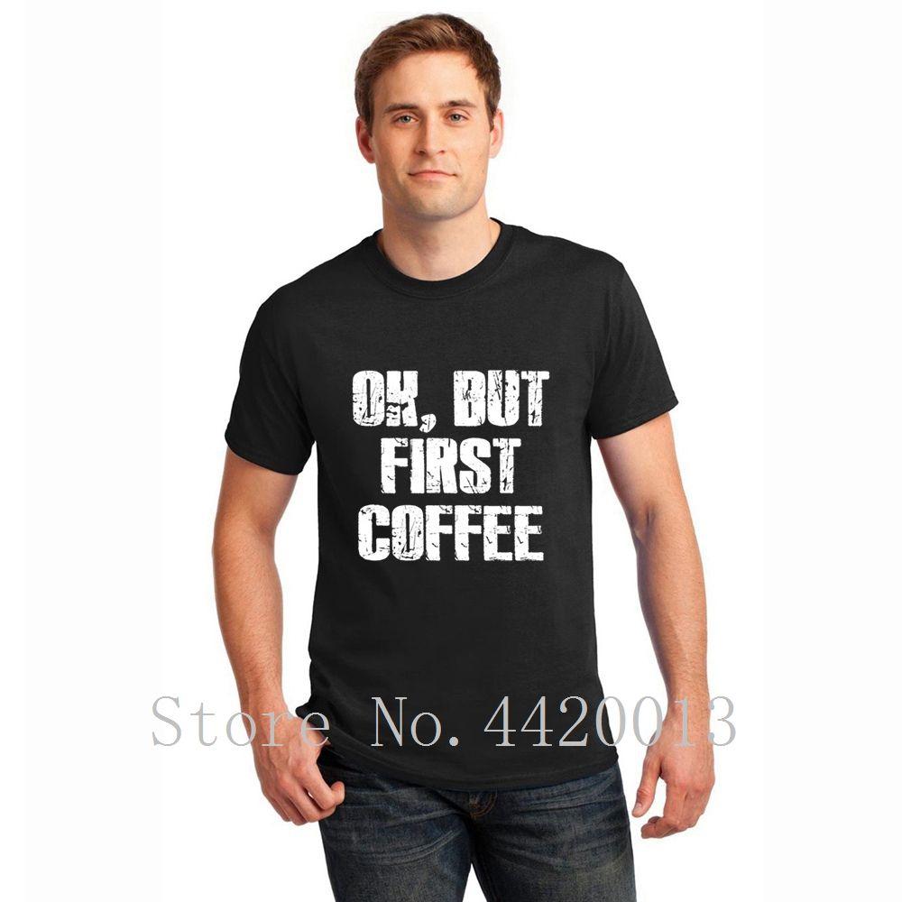 A maglia manica corta Euro Size S-3XL caffè addict homme Antirughe Traspirante Primavera formale Pop Top Tee maglietta degli uomini di