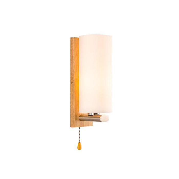 Nova lâmpada de parede de cabeceira nórdica com interruptor de corrente de puxar, moderno LED sala de estar de madeira lâmpada de parede corredor corredor lâmpada corredor