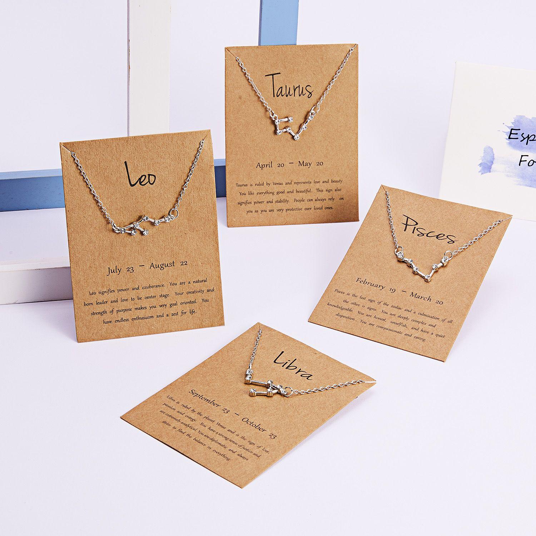cristal de mode 12 Signe du Zodiaque Colliers avec carte-cadeau Constellation Horoscope Pendentif Chaînes d'argent en or Bijoux de luxe en vrac