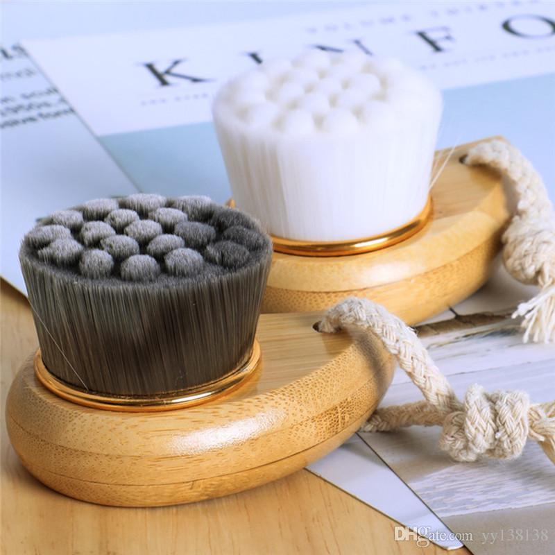 Manual facial de bambú mango de madera herramientas de limpieza del cepillo suave belleza fbra Cabello Cuidado de la piel de la cara del cepillo de limpieza Cepillos
