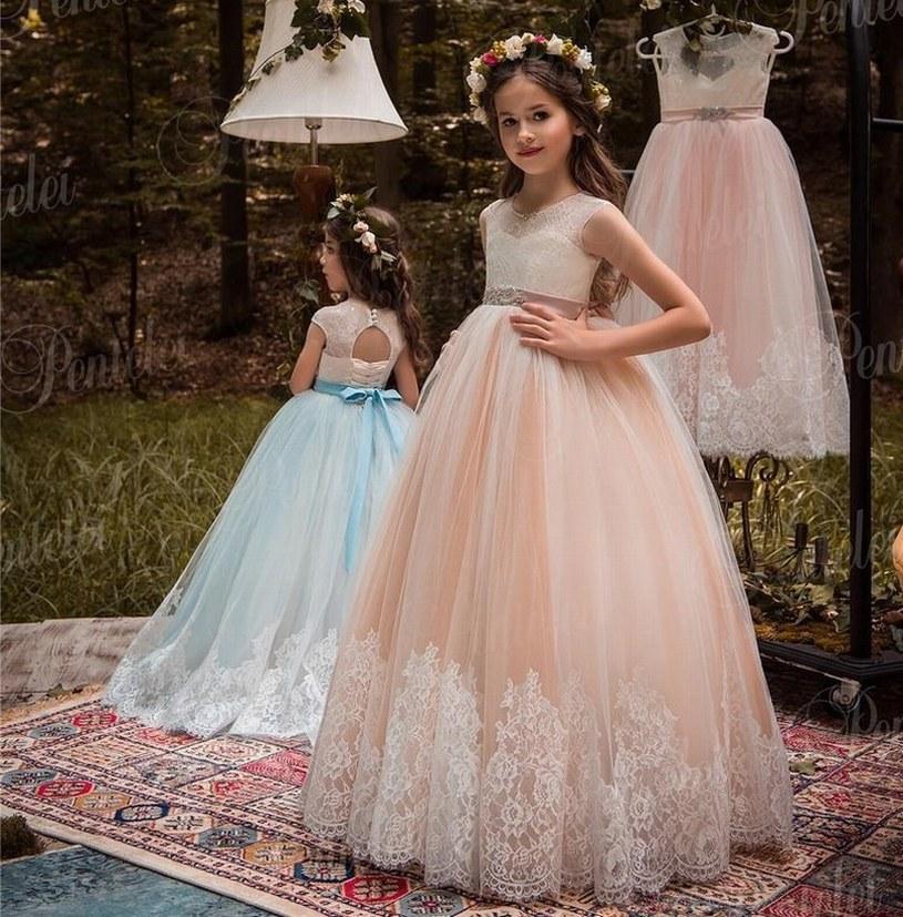 Yeni Stil Prenses Pageant Çiçek Kız Elbise Çocuklar Düğün Parti Doğum Günü Nedime Tutu Çocuk Balo GNA54