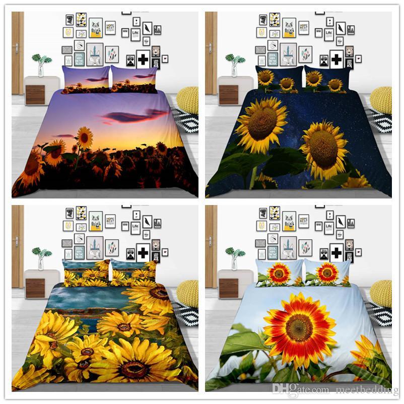 Literie romantique Set Housse de couette 2 / 3pcs King Twin Queen Size avec Sun Flowers confortable classique de lit housse
