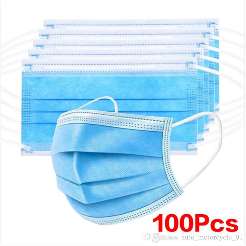 Disposable Face Mask 3 Layers Dustproof Mask Facial Protective Cover Mouth Masks Safety Non-Woven Fabric Prevent Anti-Dust Mask