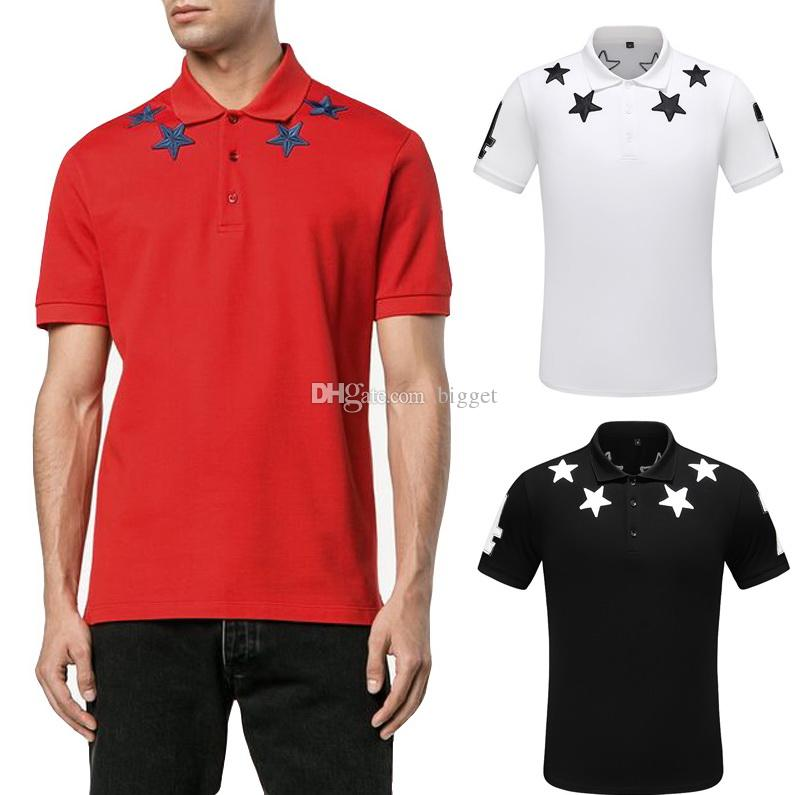 2019 Summer Wear Top Men's Stars Embroidery Cotton Jersey Polo Shirt Italy Design Big Size 3XL