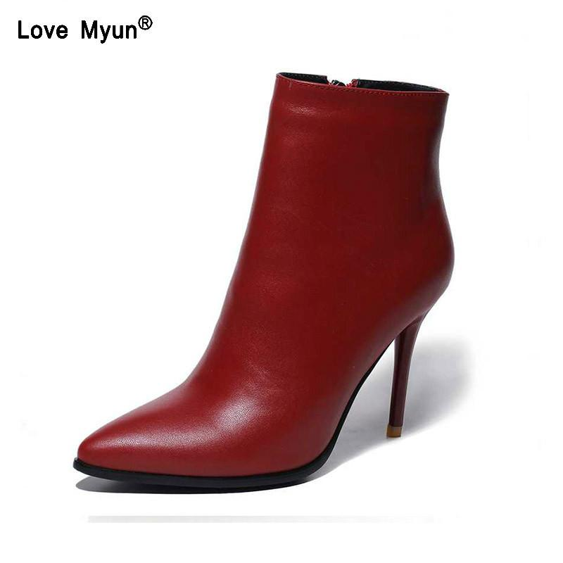 Sexy Fashion Boots Ankle Brand Genuine Leather Spring Autumn Thin High Heels Pointed Toe Party Wedding Shoes Women uik90