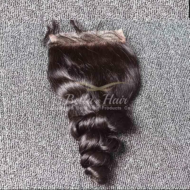 Parte libero dei capelli di Bella capelli malese pizzo Chiusure onda allentata Virgin umani tesse con bambino Bair chiusure superiori 4x4 Natural Color 8-26 pollici