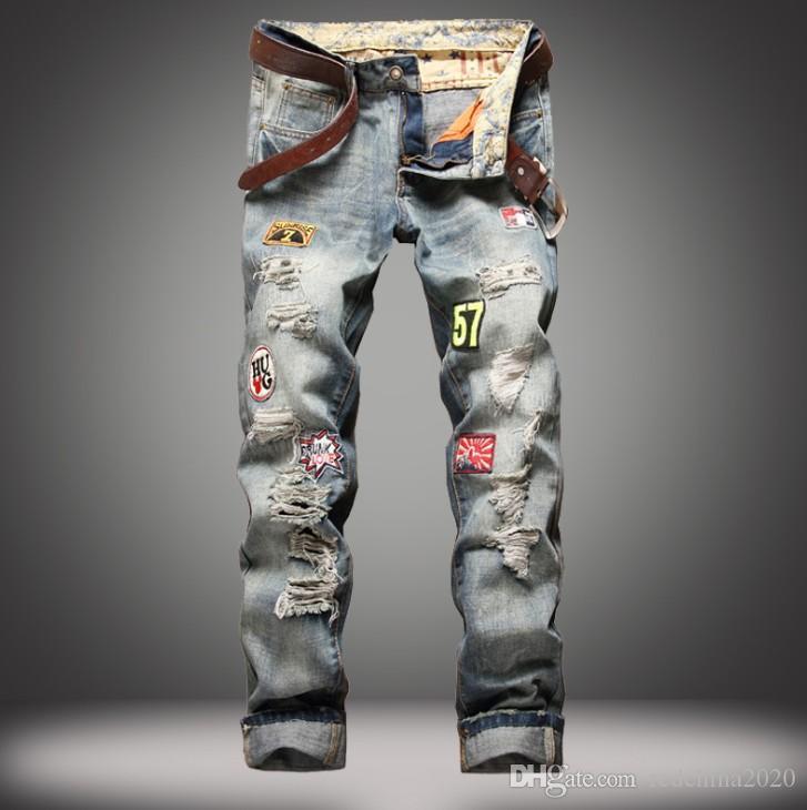 Fashion Designer rasgado vintage Patchwork Hot Sale Mens Designer Slim Fit Lavado Destruído motociclista vaqueiro famosos Calças 8969