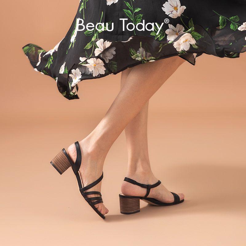 BeauToday Gladyatör Sandalet Kadınlar Hakiki İnek Deri Elastik Band Geri Kayış Yaz Bayan Yüksek topuk ayakkabı El yapımı 31079