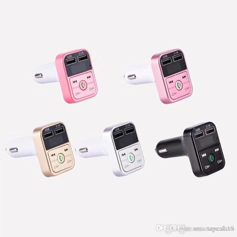 ARABA B2 Kablosuz Bluetooth İşlevli FM Verici USB Araç şarj Mini MP3 Çalar Araç Kiti Tutucu Perakende Kutusu Ile TF Kart