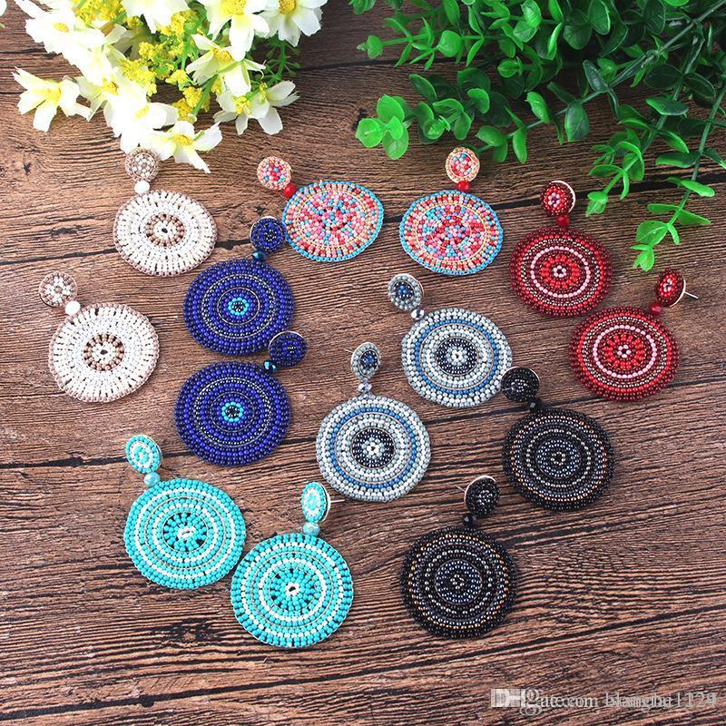 7 couleurs de Bohème Boucles d'oreilles faits à la main pour Femmes Filles coloré riz Perle Goutte Dangle Chandelier Eardrop Bijoux Accessoires en gros
