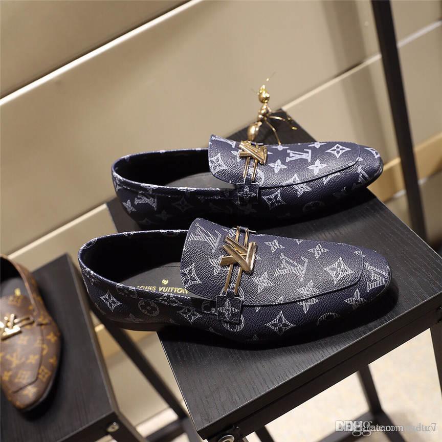 20FW Мужчины Формальной обувь 2019 осень зима Марк свадебного платье обувь Мужчина Новой замша Обувь черная Мода Дизайн Кожа Мужской обувь