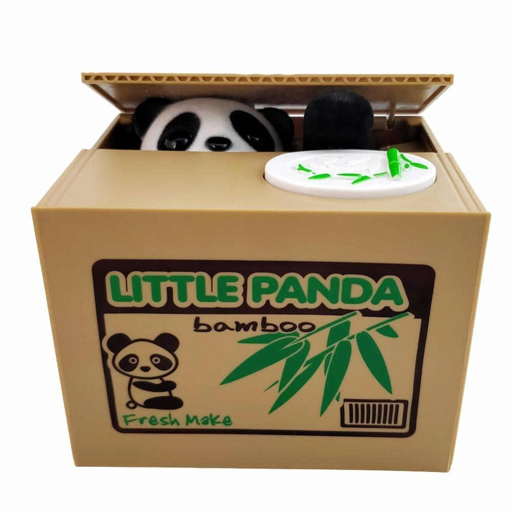 Creative Panda Cat Thief Banks Boxes Automatic Stole Coin Piggy Bank Money Gift Moneybox For Kids Q190606