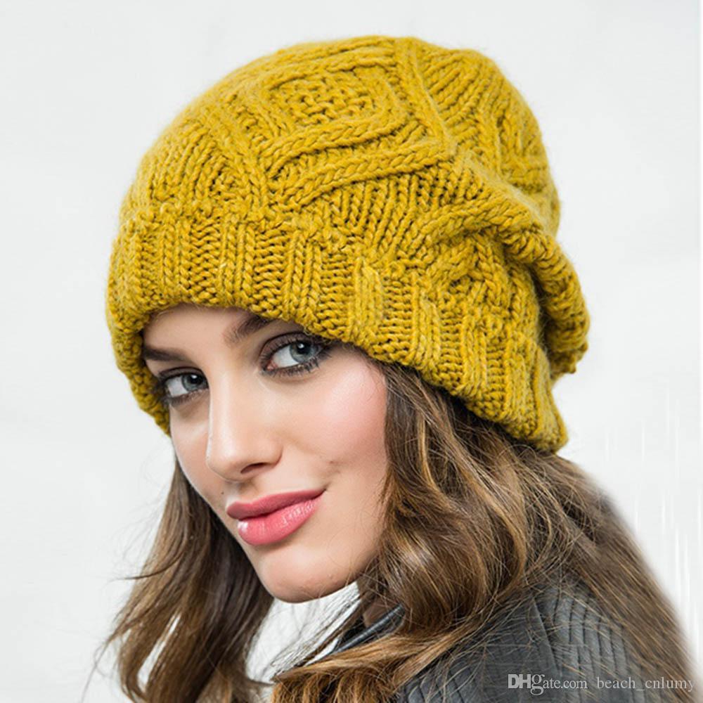 2019 Fashion New Diamond Shaped Square Soft Woolen Beanie Skull Caps Women Knitted Hat Ladies Autumn Winter Warm Wool Caps Accessories