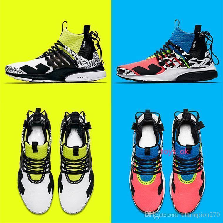Yeni ACRONYM 2019 X Presto Orta V2 Erkek Spor Ayakkabı Koşu Yarışçı Pembe Gri Dart Sokak Tasarımcı Sneakers Kamuflaj Graffiti Kadınlar Ayakkabı Soğuk