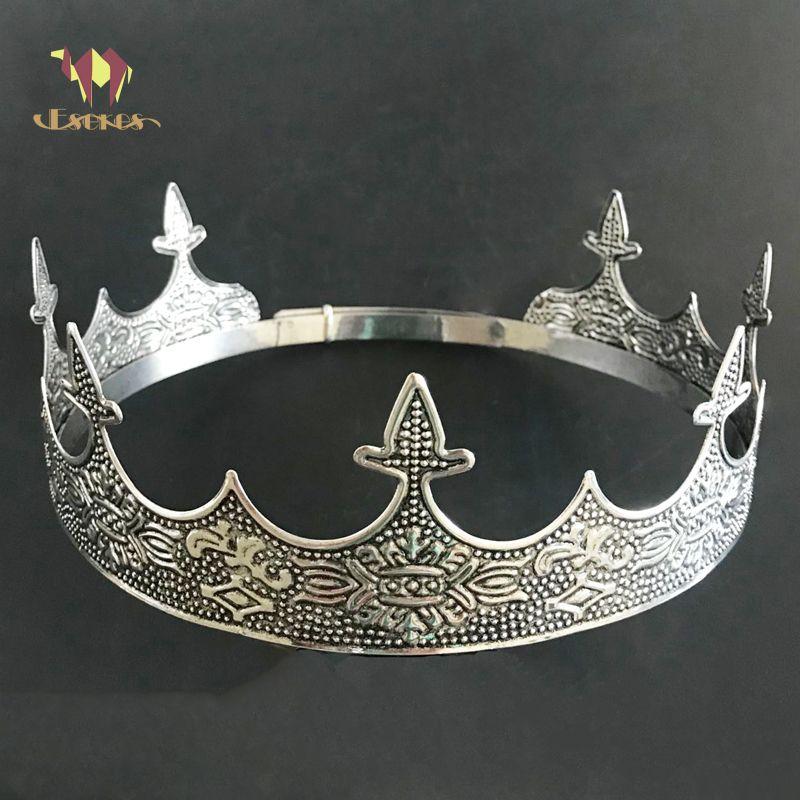 ESERES Kral Taç Adam Için Tam Yuvarlak Ayarlanabilir Antik Gümüş Tiara Düğün Saç Aksesuarları D19011103