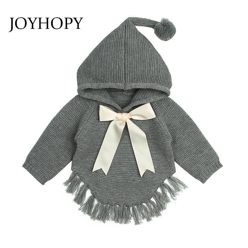 JOYHOPY bébé Pulls à capuchon filles pull en tricot Automne Hiver bowknot Tout-petit Enfant Tricots Enfants
