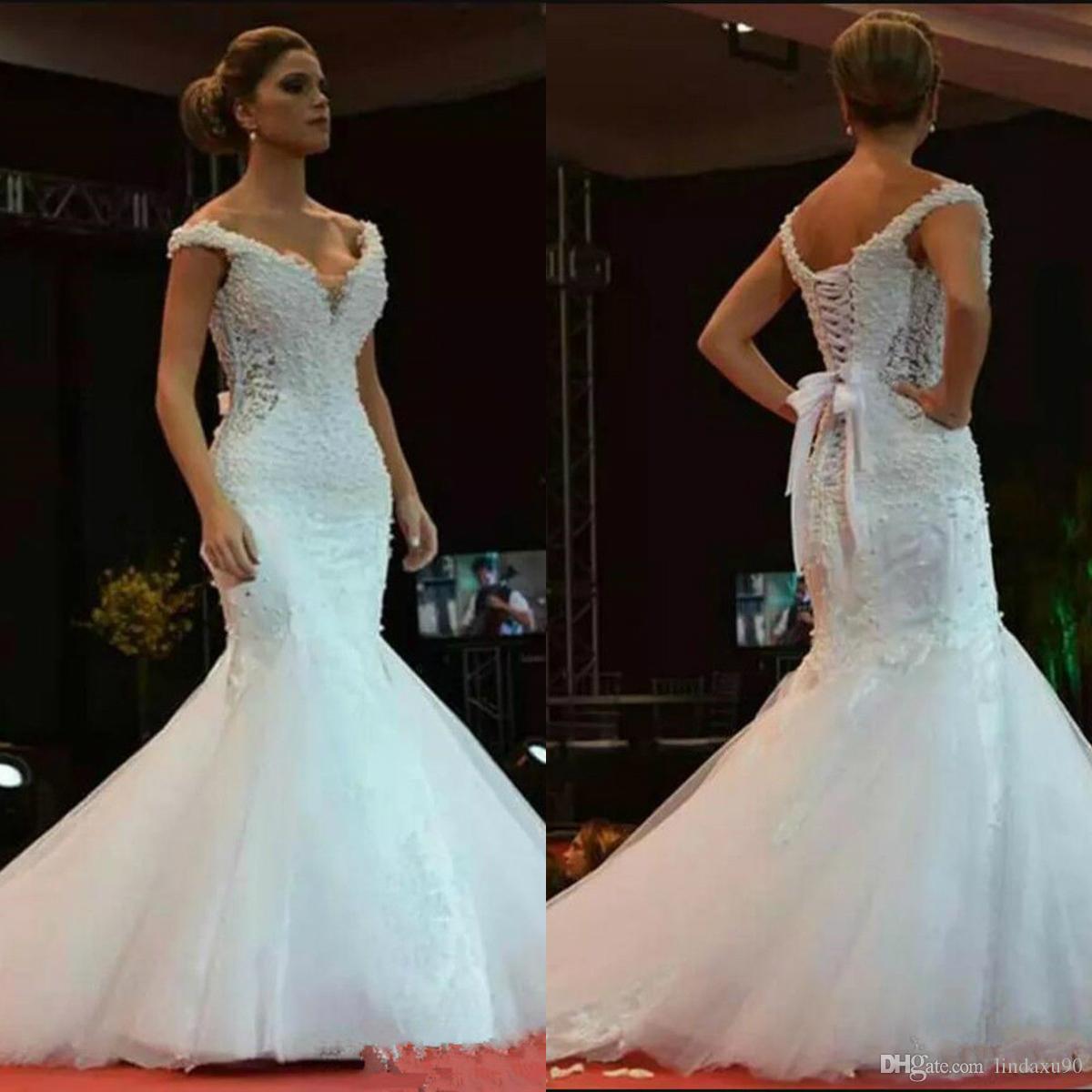 Саудовские африканские очаровательные свадебные свадьбы с бисером свадебные платья с плеча на шнуровке на заднем плане без рукавов свадебные платья 2019 Vestidos