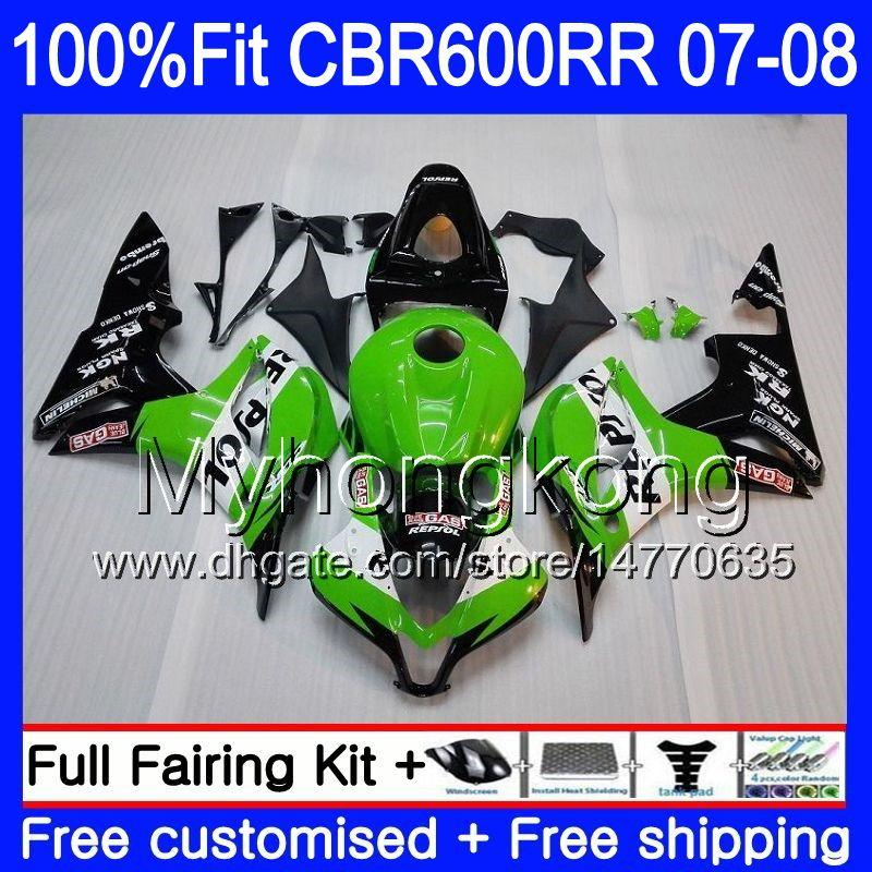 혼다 CBR 600RR 600F5 CBR 600 RR F5 07 08 283HM.0 CBR600F5 CBR600RR 07 08 CBR600 RR 2007 2008 Fairings Repsol Green Black
