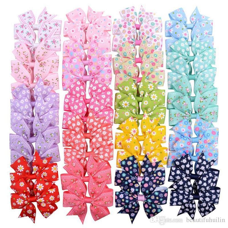 20 PC-3,2-Zoll-Blumen-Druck-Ripsband Bögen mit Klipp-Haarnadeln für Kinder-Haar-Zusätze Schöne Huilin C276