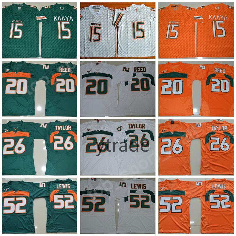 NCAA Brad Kaaya Formaları Miami Hurricanes Kolej Futbolu 20 Ed Reed 52 Ray Lewis Forması ACC Turuncu Yeşil Beyaz 26 Sean Taylor S-3XL