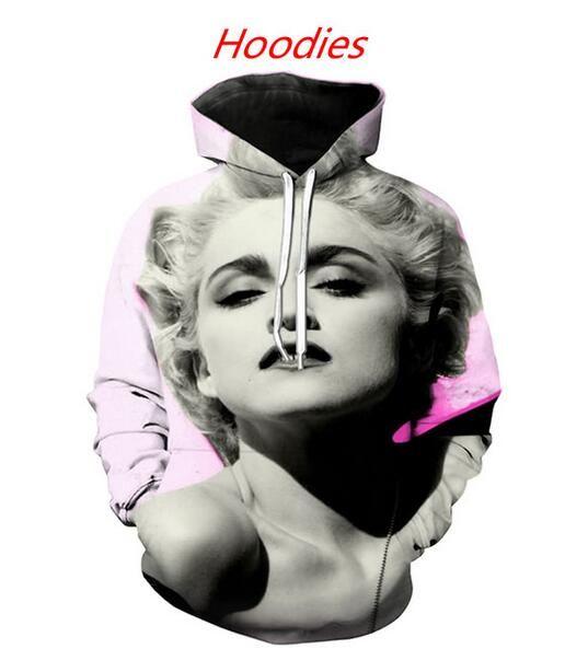 Yeni Moda Kadın / Erkek Marilyn Monroe Casual 3d Baskılı Crewneck Tişörtü Kapüşonlular Unisex Sportwear Coat ücretsiz kargo FF0283