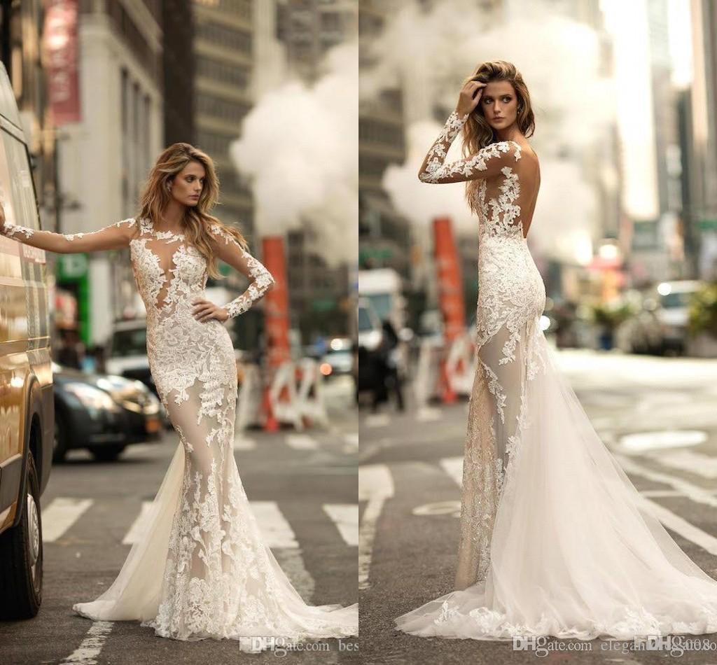 2019 Berta Arabic Mermaid Wedding Dresses Long Sleeves Lace Applique Middle East Bridal Wedding Gowns Bride Dresses Robe De Mariee