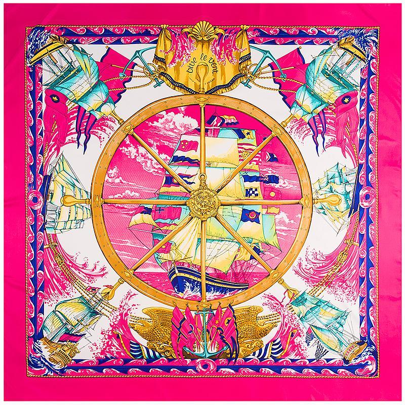 FASHION- été de nouveau concepteur marque womans écharpe de haute qualité 100% soie taille 130x130cm foulards minces womans carrés pour le cadeau HB-996b