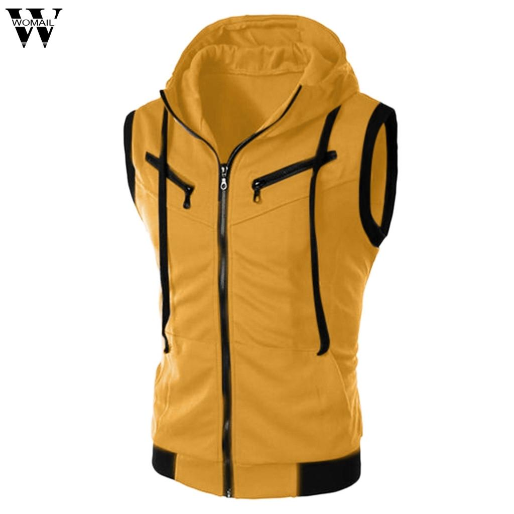 Womail 2019 Fashion T-shirts Men's Summer Pure Color Hooded Sleeveless Tops Polyester T-Shirt For Men Dropship May30 Camiseta Y200104