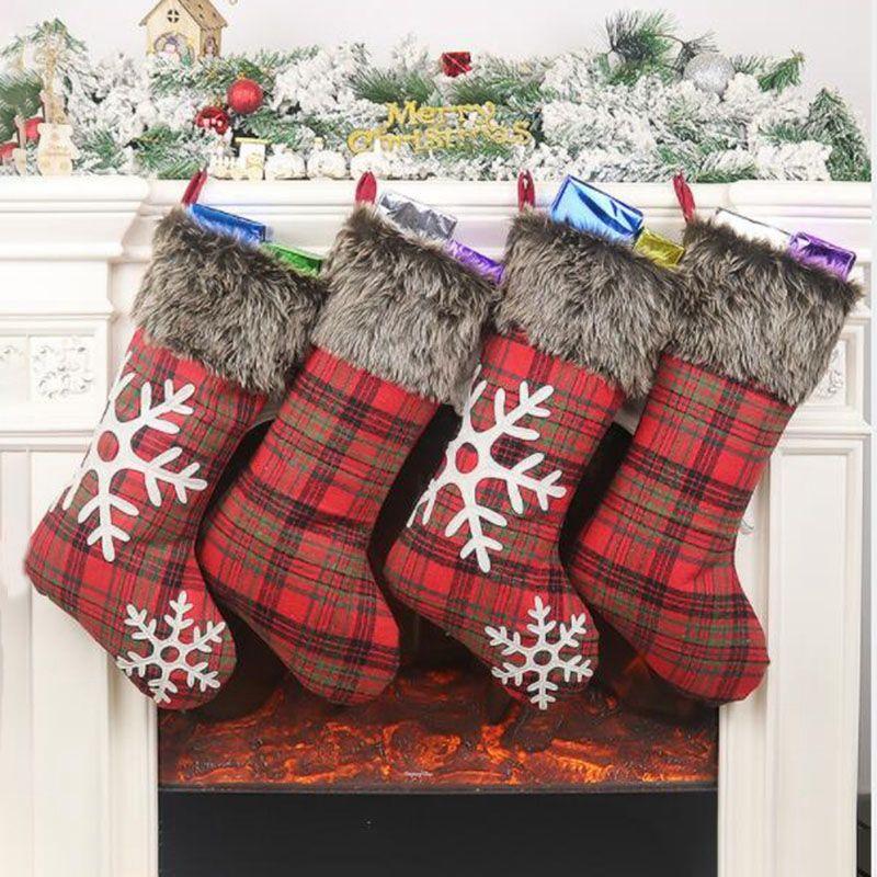 Medias ABSS-Navidad, 4 PCS 18 pulgadas arpillera con grandes tela escocesa del copo de nieve medias, para la familia de días festivos de Navidad Decoración