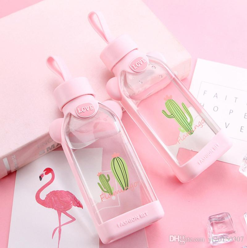 350ml Cartoon Tumblers Flamingo Glass Water Bottles with Cloth Protection Cover Milk Tea Infuser Gifts for Girls