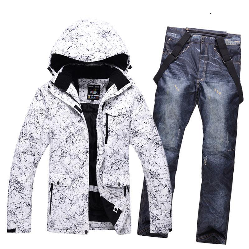 New Thicken Warm Men Women Couples Ski Suit Winter Windproof Waterproof Skiing Suits Male Snowboard Jacket Pants Suit Plus Size T190920
