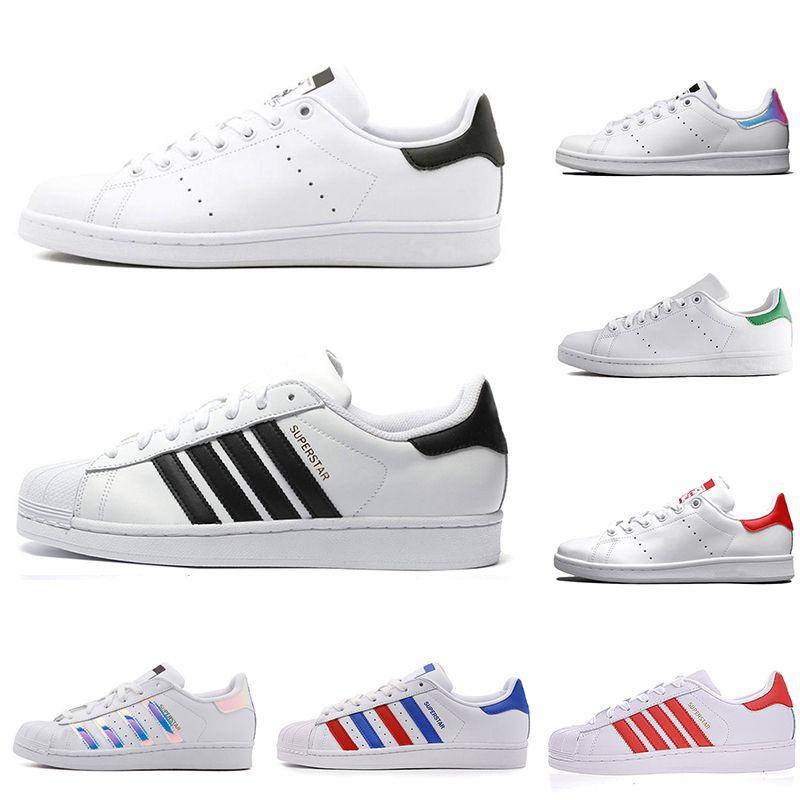 Orijinal Süperstar Stan Smith erkek kadın rahat ayakkabılar yeşil siyah beyaz mavi kırmızı pembe gümüş erkek moda deri ayakkabı flats sneakers 36-45