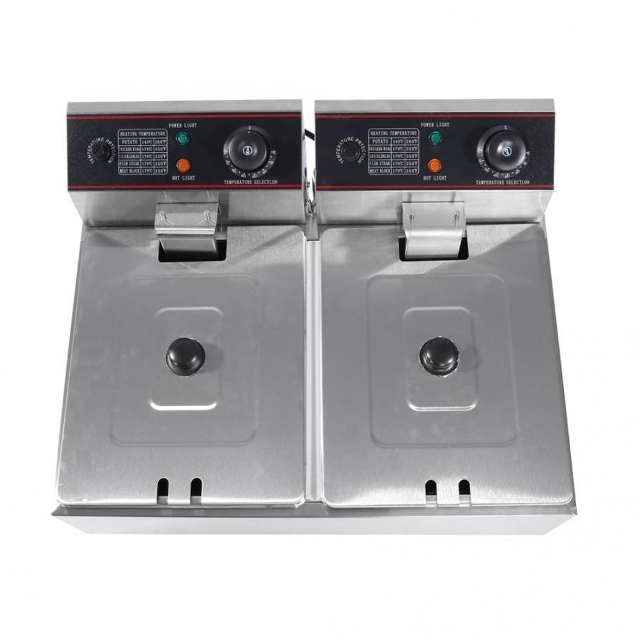 EU Plug Commercial Professional 12L Stainless Steel Double DeepTank Electric Fryer