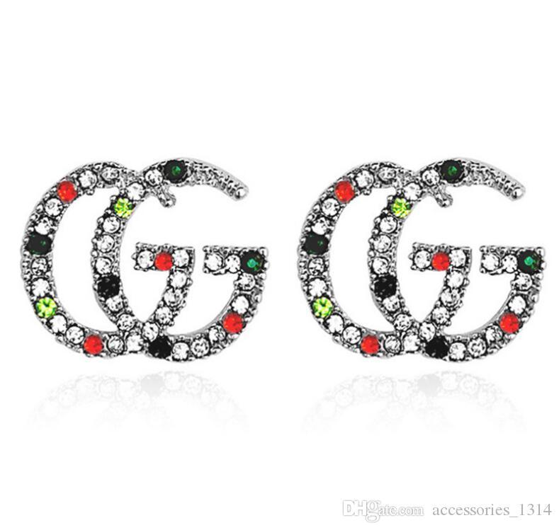 Trasporto 925 post a prova di esplosione ipoallergenico Full Color diamante lettera classica Orecchini femminile gioielli