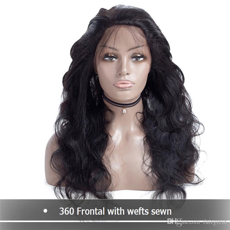Malesia parrucca piena del fronte del merletto di densità completa 360 Parrucca peruviana dell'onda del corpo 360 Parrucca anteriore dei capelli umani del pizzo con i capelli del bambino per le donne nere