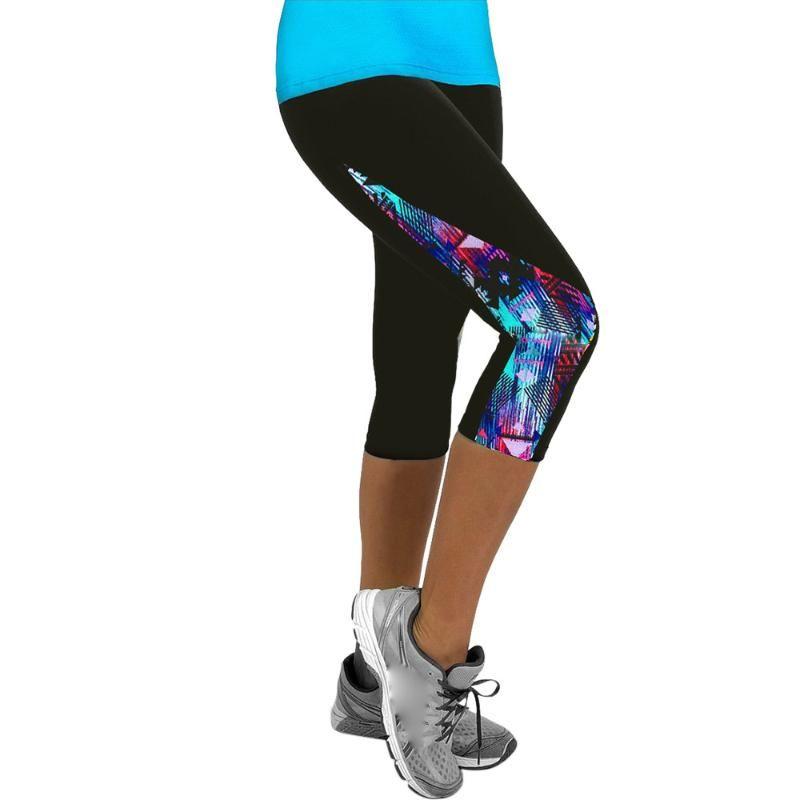 De las señoras de la impresión floral de la yoga Deportes pantalón corto deportivo polainas Gimnasio 3/4 Delgado recortada del motorista Pantalones cortos Pantalones cortos de mujer # GH