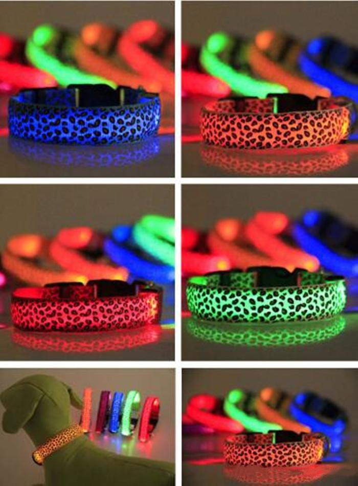Led Light Glowing Dog Collars Necklace Leopard Print Spotted Lines Pet Dogs Cat Collar Fluorescence Necklet Trends For Pets Supplies