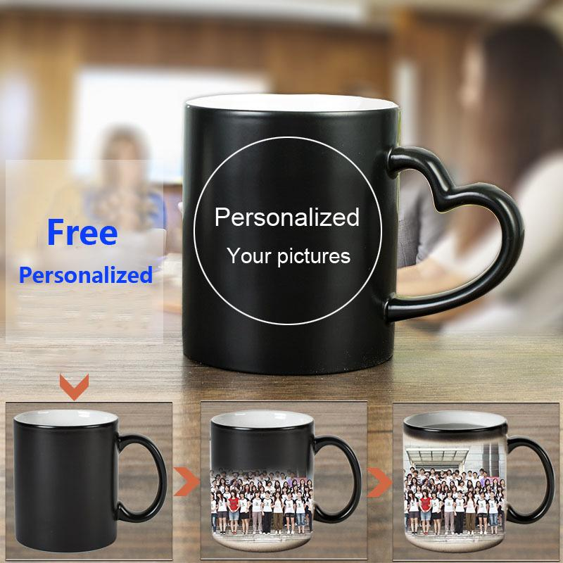 커피 머그컵 우유 컵 선물 사진 H1228 Y200106 인쇄 변경 DIY 개인 매직 머그잔 열 민감한 세라믹 머그컵 컬러