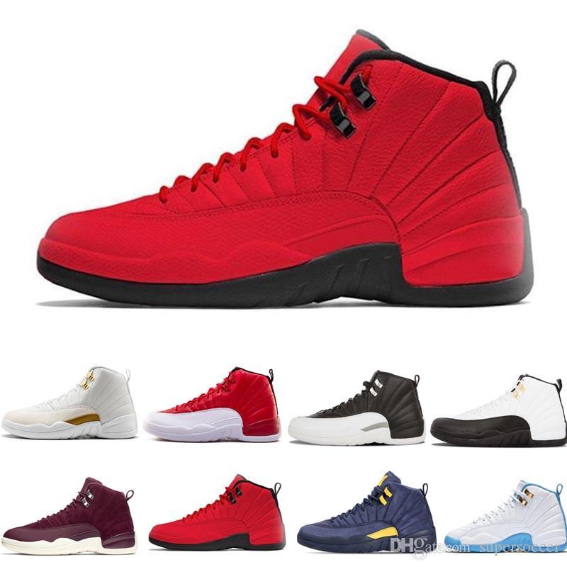 Mens 12 s sapato de basquete Winterized Ginásio Vermelho Bordéus 12 branco preto O Master Flu Jogo táxi sports sneaker formadores tamanho 8-13
