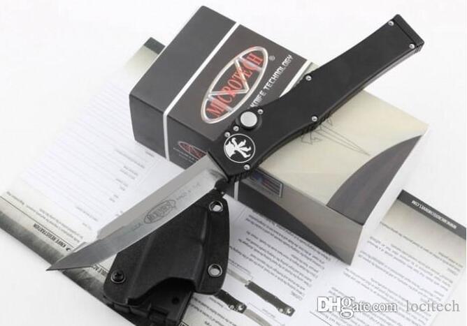 """특별 메뉴! Microtech Micro MT Tech Halo V Tanto Knife (4.6 """"새틴) 150-5 싱글 액션 키 디스 칼로가있는 자동 전술 자동 전술 생존 기어 나이프"""