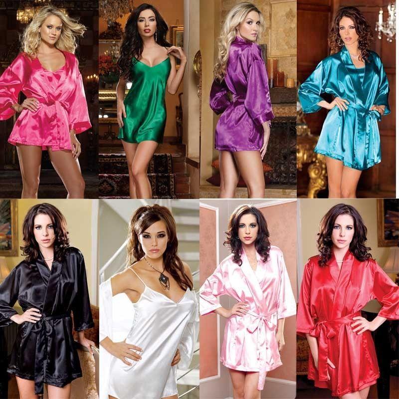 Les femmes sexy en satin de soie dentelle robe de nuit Peignoir Mode Notte Set Robe