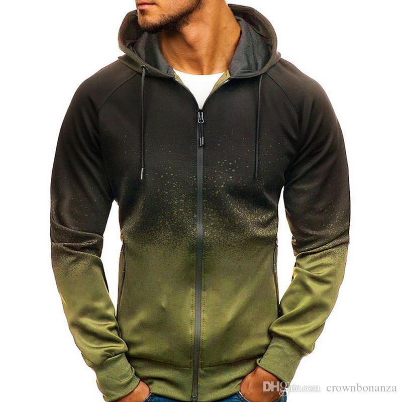 Hoodies Hommes Casual HipHop Dégradé de couleur Fleece Sweat Cardigan Automne Fermeture éclair veste à manches longues