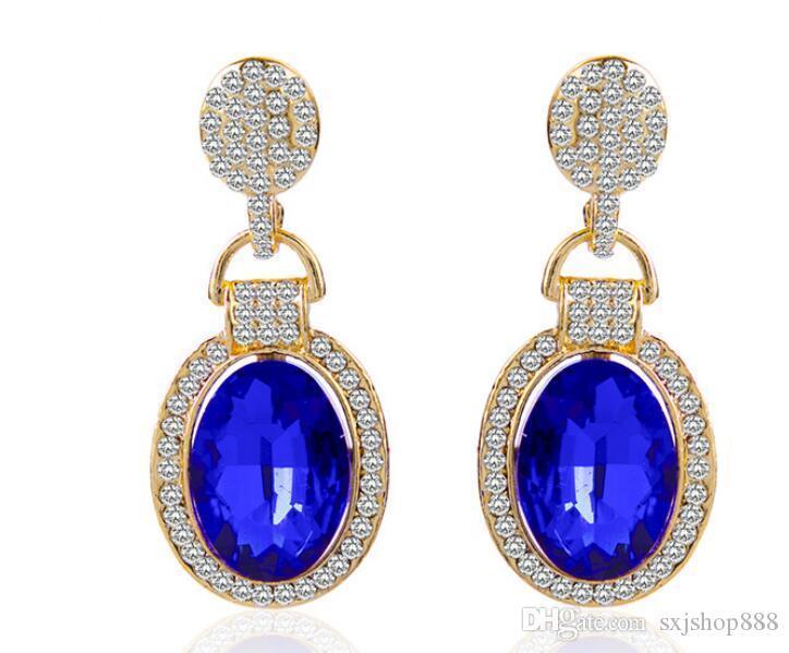 Europea y de la moda estadounidense gota de diamantes pendientes de lujo de agua nueva al por mayor pavimenta