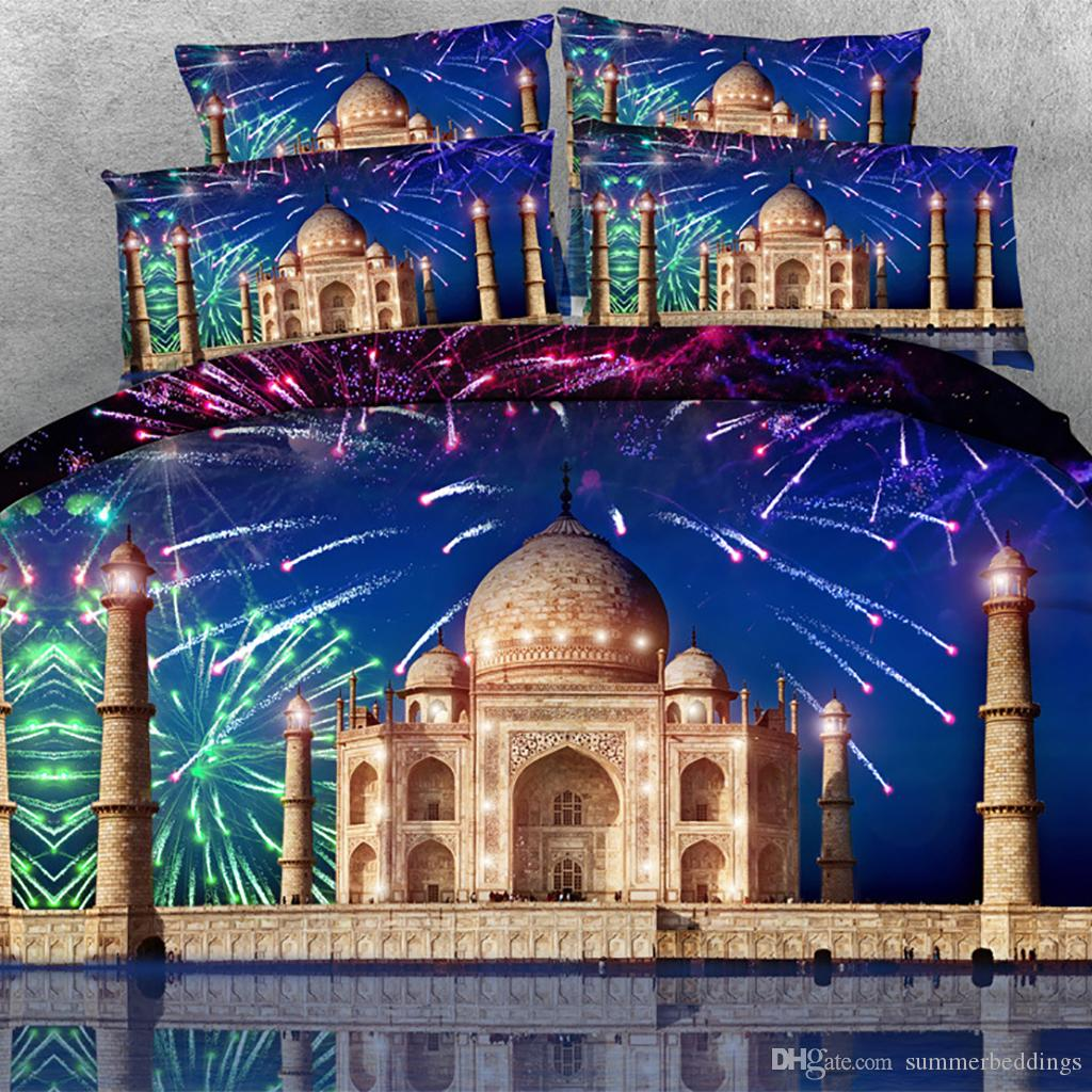 3D Firework Castle print Duvet Cover with pillowcase Bedding 3 PCS Set, Microfiber Quilt Cover, Zipper Closure, NO Comforter