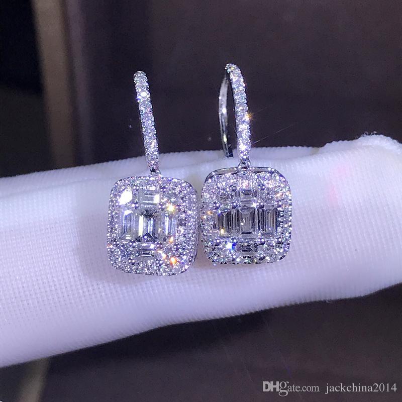 뜨거운 판매 새로운 2019 럭셔리 쥬얼리 925 스털링 실버 T의 모양 화이트 토파즈 CZ Daimond 여자 웨딩 보석 귀걸이 후크 연인을위한 선물