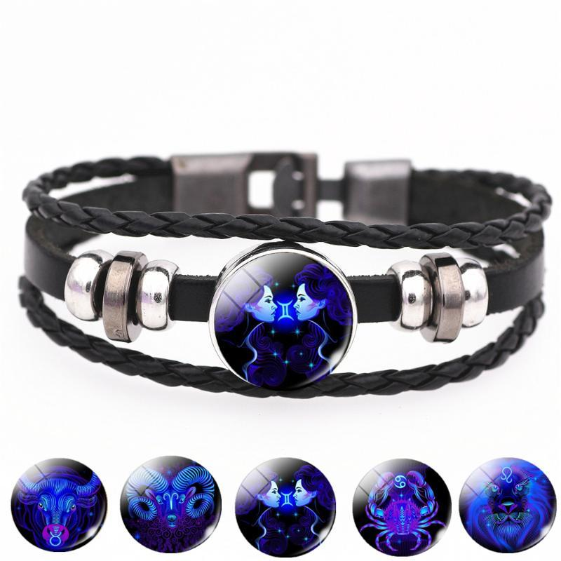12 Constellation Zodiac Sign Black Buckle Leather Bracelet Cancer Leo Virgo Libra Woven Glass Dome Jewelry Punk Men Bracelet