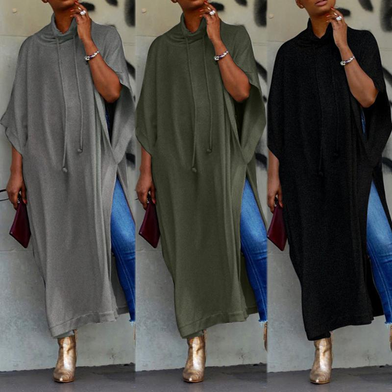 2020 ZANZEA de manga larga vestido maxi para mujer Vestido de tirantes Mujer con cordón Pila collar partido vestidos de Vestido túnica de Robe 5XL MX200518